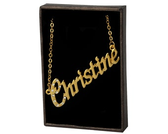 Name Necklace Christine - Gold Plated 18ct Personalised Necklace with Czech Crystals