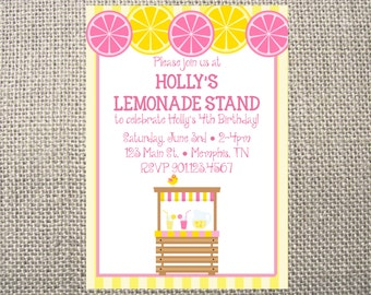 PRINTED or DIGITAL Lemonade Stand Summer Sweet Girl Birthday Party Invitations 5x7 Customized Lemonade Design 0.82 each
