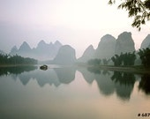 Nature landscape photography - Yangshuo Li river at dawn, Large poster size photograph for Home and Office wall decor.