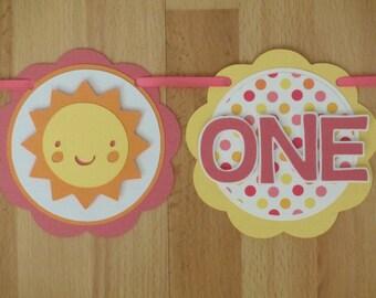 Sunshine Sun I Am 1 Age Highchair Banner Sign Birthday Party Shower Sunny  Pink Yellow Orange