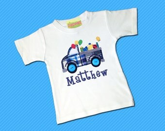 Boy's Birthday Shirt with Birthday Truck with Balloons, Gifts and Names