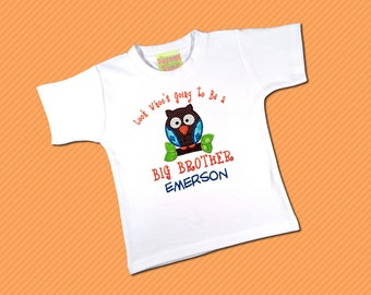 Big Brother Shirt 'Look Whoo's Going to Be A Big Brother' with Owl and Name