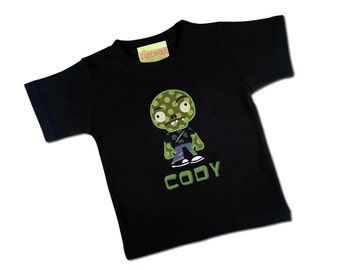 Boy's Halloween Shirt Cute Zombie Monster with Embroidered Name