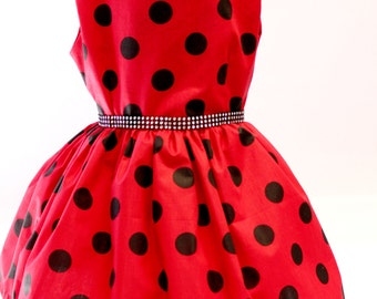 Ladybug Dress, Red / Black Dot Dress, Style 834