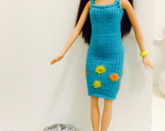 Hand knitted summer dress fits Barbie