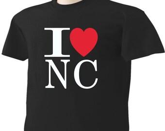I Love North Carolina T-Shirt Heart NC