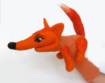 Fox puppet - felted hand puppet, little red fox, wool, needle felted,crochet puppet, kids toy, kids theater, wool, made to oder