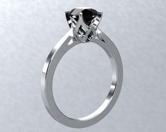 Black Moissanite Engagement Ring 1.0ct Round Black Moissanite 14kt White Gold Wedding Nature Inspired Bloomed Love Ring Pristine Custom Ring