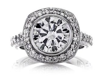 Diamond Engagement Ring 3.10ct Forever One Round Moissanite Ring .80ct Diamonds Bezel Halo Setting Wedding Ring Pristine Custom Rings