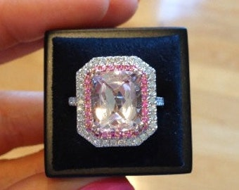 Morganite Wedding Ring Cushion Cut Pink Morganite Ring Double Halo Diamond Ring Pink Sapphire Butterfly Design Ring Pristine Custom Rings
