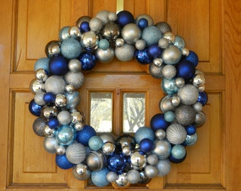 """Christmas Ornament Wreath - 14"""" Blue and Silver Ornaments - Holiday Wreath"""