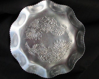 Hammered Aluminum Tray With Scene of  Flowers With Stems Serving  Alumimum Serving Party
