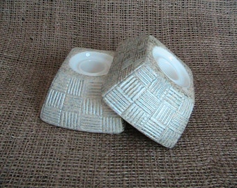 Shawnee  Pair of Metalic Cream And Silver Tapered Candle Holders Home Decor Candles Pottery Lighting