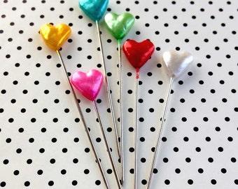 Rainbow Heart Pins (30), Stick Pins, Corsage Pins, Pearlized Sewing Pins, Quilting Pins, Hat Pins