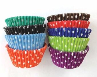 Rainbow Polka Dot Cupcake Liners (117): Bakers Dozen Cupcake Liners, Polka Dot Liners, Rainbow Cupcake Liners, Rainbow Party Decoration