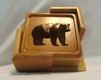 Custom Wood Coaster Set - Engraved Outdoors Designs