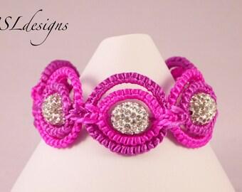 Pink macrame bracelet and earrings set