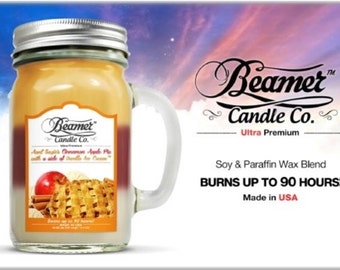 12oz Aunt Suzies Cinnamon Apple Pie with a side of Vanilla Ice Cream Mason Jar (Beamer Candle Co) Made In USA