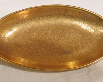 Vintage epiag golden oval dish with handles