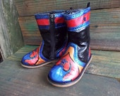 "Hand Painted Childs Western Cowboy Boots for the ""Wild Child"" Upcycled Old Navy Size 8"