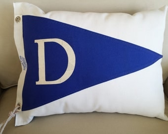 """Yacht Club Flag """"D"""" - Nautical pillow made from NOS  vintage yacht club flag / burgee.  Free shipping!"""