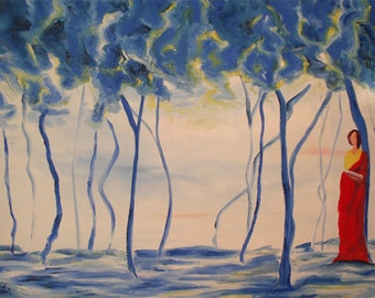Stephanie PCox original oil painting.. Blue Forest