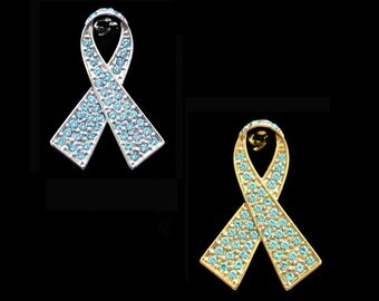 Crystal Light Blue Ribbon Bow Prostate Cancer Awareness Brooch Pin Silver Tone Gold Tone