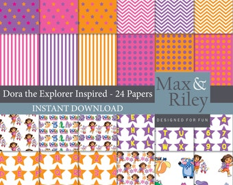 24 Dora the Explorer Inspired Digital Paper pack INSTANT DOWNLOAD - for scrapbooking, card making, digital scrapbooking, dots, stripes