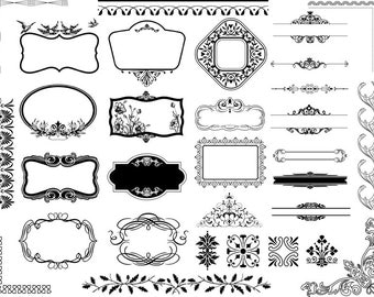Instant Download Digital Frame Ornate Clip Art Flourish Swirl Frame Border Clipart Scrapbook Embellishment Frame Border Decor Element 0352