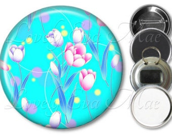 Japanese Floral Mirror, Floral Refrigerator Magnet, Bottle Opener Key Ring, Pin Back Button, Makeup Mirror, Tulips, Pink and Blue Flowers