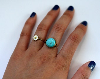 Turquoise Howlite Gold Wire Wrapped Ring