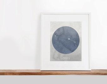 Aries Zodiac Printable Art, 8x10 inches, Nursery Art, Constellation Art, Watercolor Art Print, Digital File