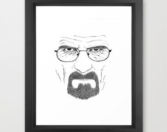 Portrait in black ink. Walter White / Heisenberg (Breaking Bad)
