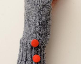 Hand Made Knitted Grey Fingerless Gloves