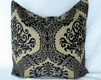pillow cover black, 18x18  black and light brown throw pillow, uphostery fabric decorative pillow cover