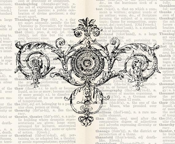 Illustration Digital Download - Antique Embellishment Design Element Flourish Clipart Graphic Printable Transfer Scrapbook INSTANT DOWNLOAD