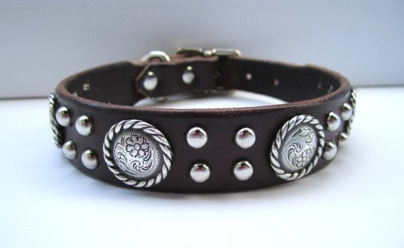 "Cute Leather Dog Collar, ""The Lasso"", Custom Leather Dog Collar, Leather Collar for dogs, Studded Leather Collar, Unique Dog Collar"