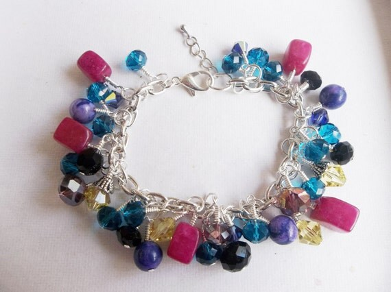 Crystal and Gemstone Multi-Colored Bracelet in Silver