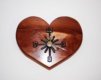 One of a kind,  Handcrafted Heart Shaped Cedar Wall Clock
