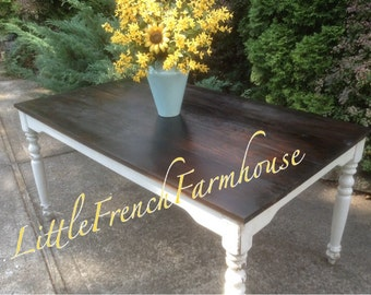Custom Built Farmhouse Table Harvest Table GORGEOUS! Pine top StainedDark Walnut & distressed Cottage White - Little French Farmhouse