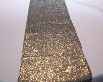 Silver Sequin Table Runner, Metallic Silver Sequin Runner, Dazzling Silver Sequin Runner, Wedding, Bridal Shower, Ready to Ship