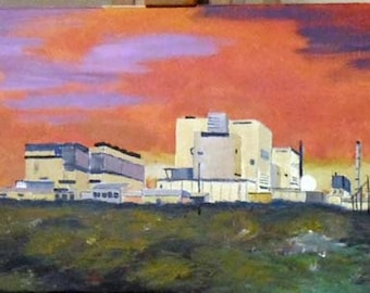 """Nuclear Power Station Dungeness Original Acrylic Painting (31 1/2"""" x 11 1/2"""") Lovely Gift!"""