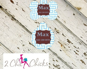 Personalized Pet Tag - Bone or Round Shape - Light Blue, Monogram Pet Tag, Cat Tag, Dog Tag, Aluminum light weight, Made in USA