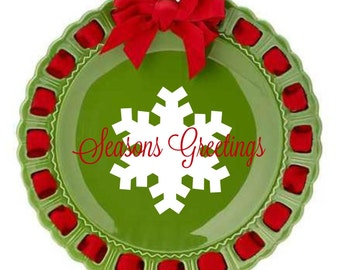 Personalized Holiday Plate ~ Prissy Plate ~ Snowflake ~ Christmas Plate ~ Seasons Greetings Snowflake Red and Green Ribbon Plate Christmas