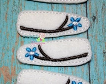 Blue Flower Snap Clip Covers - Snap Clip Covers - Felt Snap Clip Covers