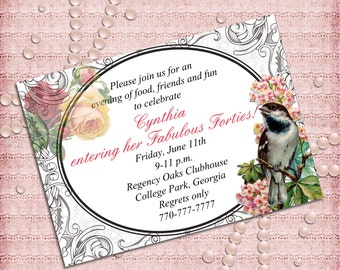Vintage Flowers and Bird Women's Birthday Party Invitation  40th 50th 60th 70th 80th 90th - Printable DIY