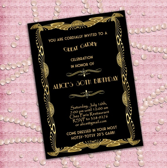 Einladung zu einer großen Gatsby Stil Art Déco Geburtstag 21.