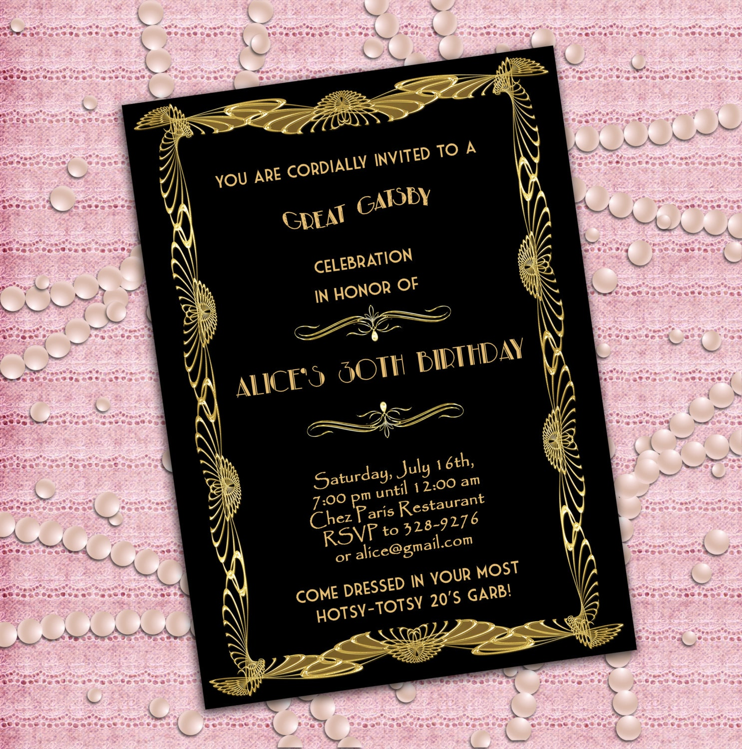 Great Gatsby Style Art Deco Birthday Party Invitation 21st – Art Deco Party Invitations