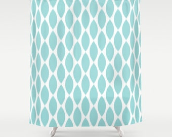 Aqua Shower Curtain, Girls Bathroom Decor, Ikat Shower Curtain, Girls Shower Curtain, Fabric Shower Curtain, Standard or Extra Long, Aqua