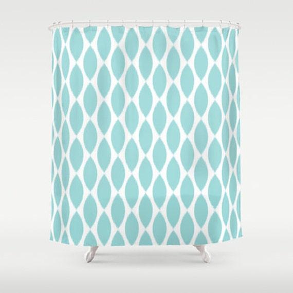 Aqua Shower Curtain Girls Bathroom Decor Ikat Shower